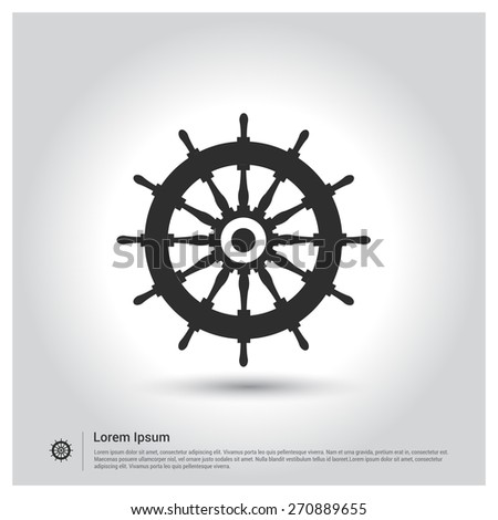 Rudder Icon, ship steering wheel. Vector illustration for web, site, mobile application. Simple flat metro design style. Outline Icon. Flat design style - stock vector