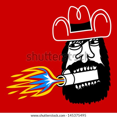 Rude cowboy with gun cannon leaving his mouth - stock vector