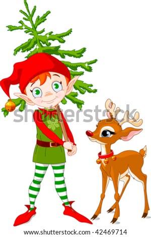 Rudolf and Cute Christmas elf hording Christmas tree - stock vector