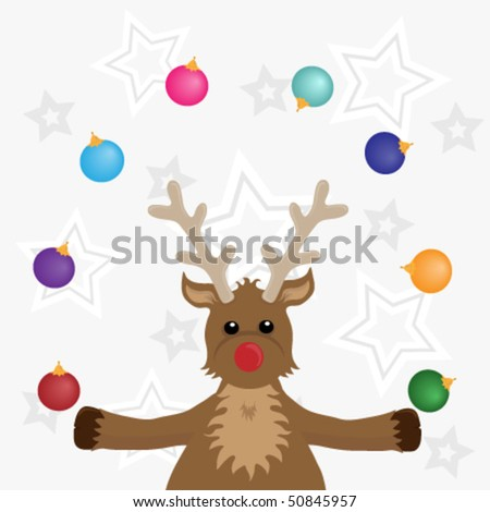 Rudolf juggling baubles on a starry background.