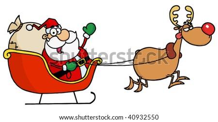 Rudolph Flying Kris Kringle In His Sleigh - stock vector