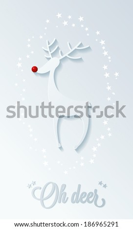 rudolph red nose reindeer, christmas illustration - stock vector