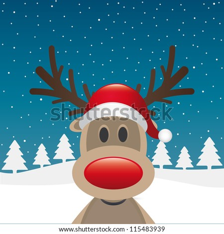 rudolph reindeer red nose and hat - stock vector