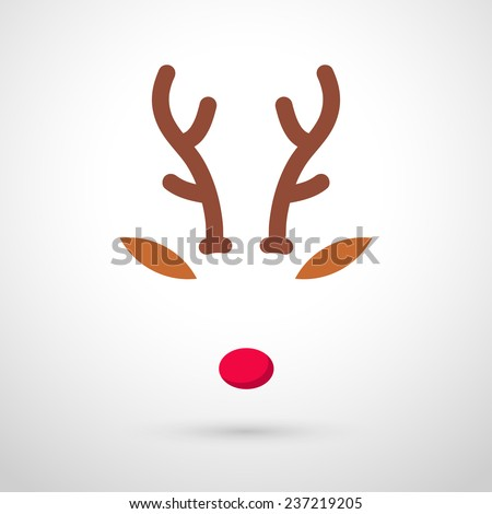 Rudolph Reindeer with red nose template - vector illustration - stock vector