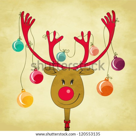Rudolph the Red Nose Reindeer with Christmas Tree Baubles tied to his antlers - cartoon style greeting - stock vector
