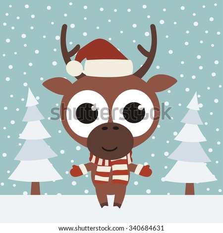 Rudolph the reindeer wearing a hat in winter forest on a background of snowflakes - stock vector