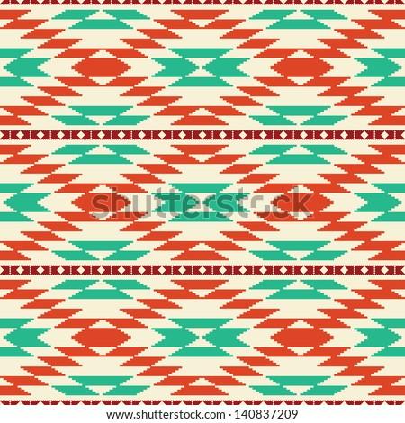 Rug geometric tribal seamless pattern - stock vector