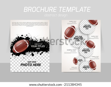 rugby american football back and front flyer template design - stock vector