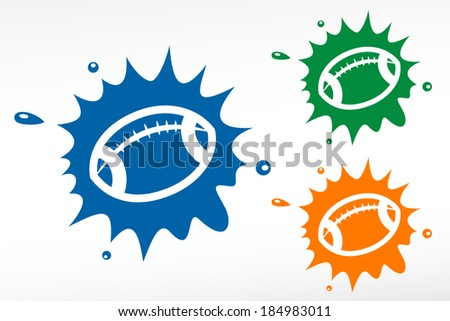 Rugby and american football balls set for sports design - stock vector