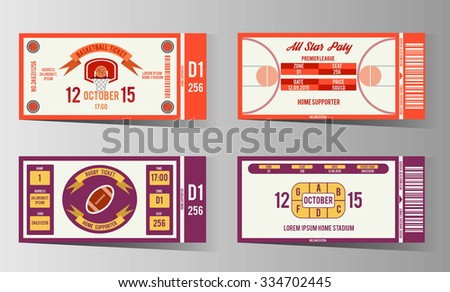 Rugby and Basketball ticket design template. Card invitation, game team, event and date, location and place sector. vector illustration - stock vector