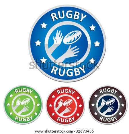 rugby badge - stock vector