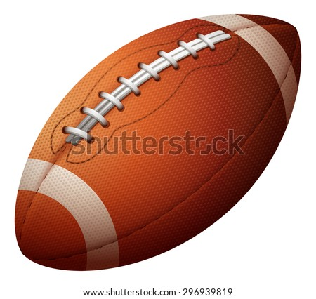 Rugby ball alone on a white background