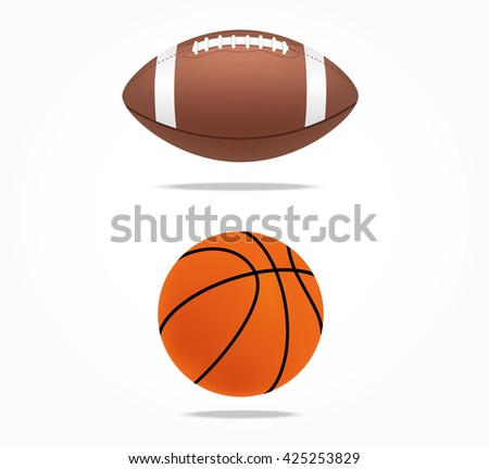 Rugby ball and basketball ball. Vector illustration isolated.