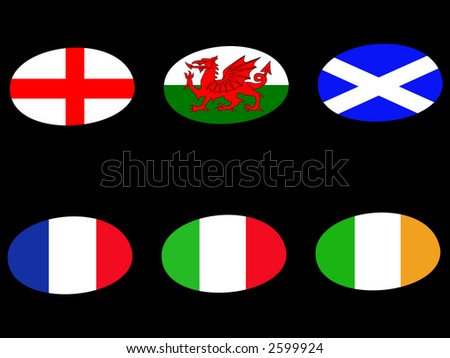 Rugby ball flags england  wales scotland france italy ireland - stock vector