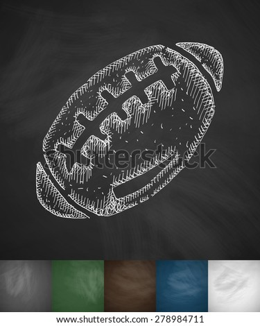 rugby ball icon. Hand drawn vector illustration. Chalkboard Design - stock vector