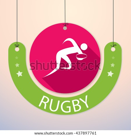 Rugby - Colorful Paper Tag for Sports - stock vector
