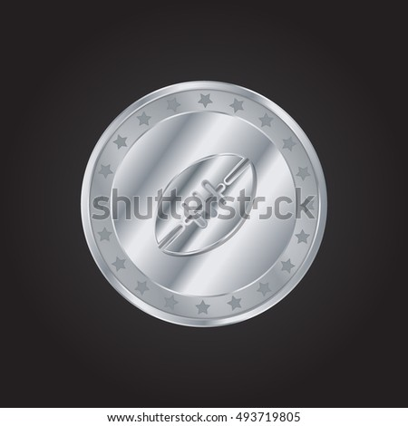 Rugby embossed realistic silver / platinum coin precious Icon / Logo Design