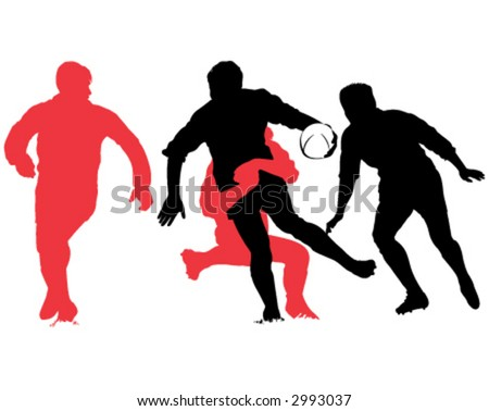 rugby fight - stock vector