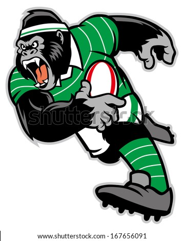 rugby gorilla mascot - stock vector