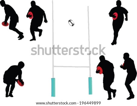rugby player collection - vector - stock vector