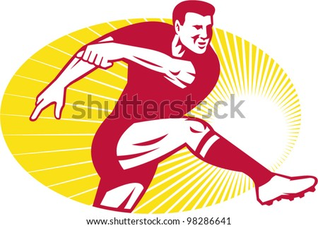 Rugby Player Kicking Ball Retro - stock vector