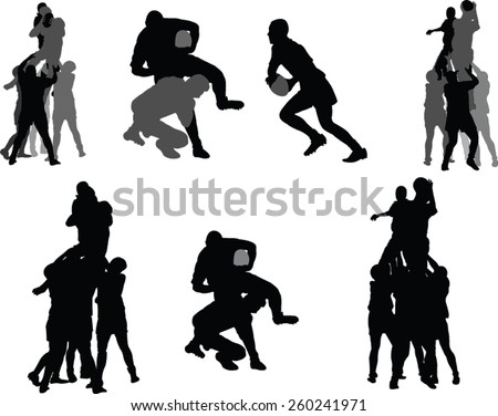 rugby player silhouette collection - vector - stock vector