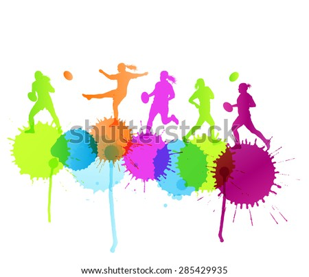 Rugby player woman active sport vector background concept with color splashes - stock vector