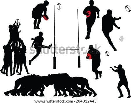 rugby players collection - vector - stock vector
