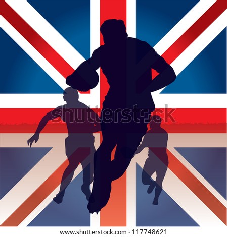 rugby players silhouette - stock vector