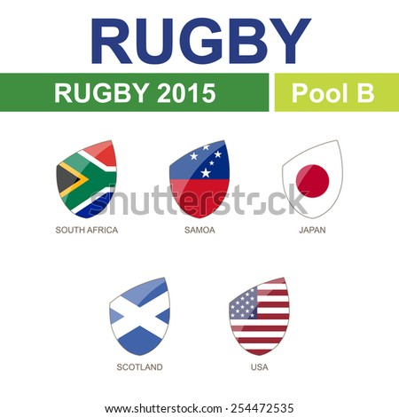 Rugby 2015, Pool B, 5 Flag - stock vector