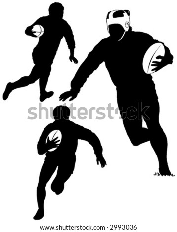 rugby running - stock vector