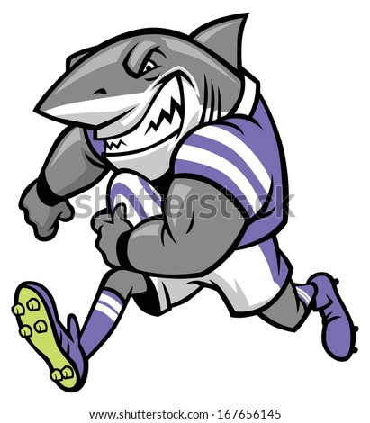 rugby shark mascot - stock vector