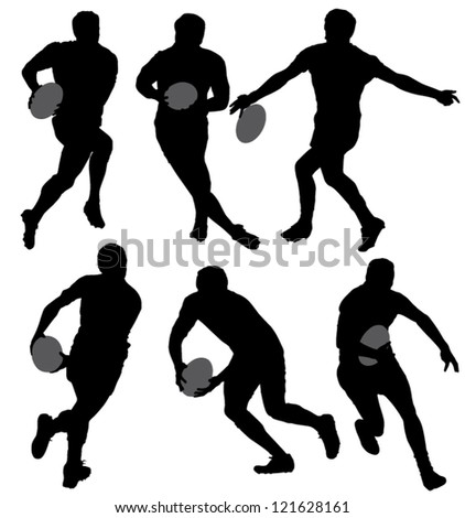 Rugby Silhouette on white background - stock vector