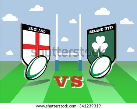 Rugby Six Nations championship 2016, England vs Ireland match  - stock vector