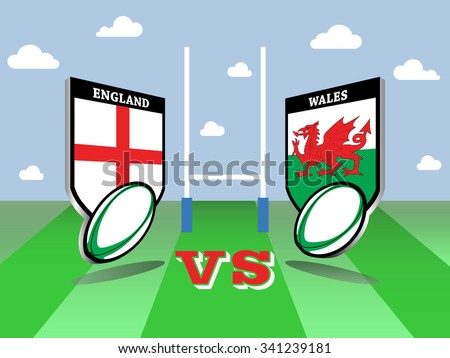 Rugby Six Nations championship 2016, England vs Wales match   - stock vector