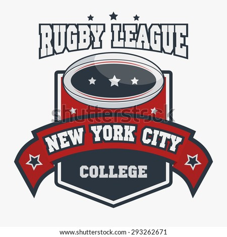Rugby T-shirt Printing Design, New York City Typography Graphics, sports original wear, Vintage Print for sportswear apparel - vector illustration - stock vector