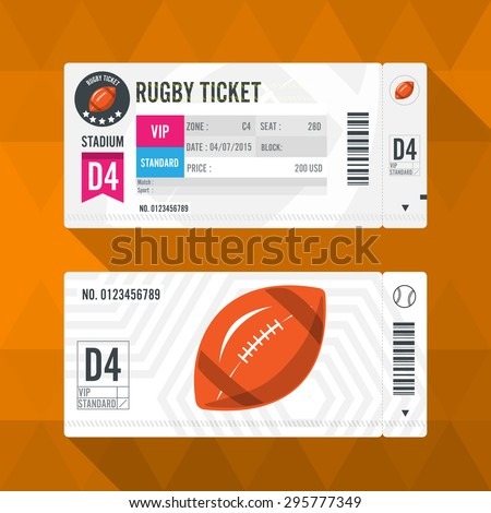 Rugby Ticket Card modern element design - stock vector