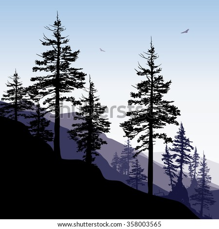 Rugged mountainside with evergreen trees in the foreground. - stock vector