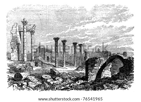 Ruins of Bozrah,  Captial city of Edorn, Jordan, now Bouseira vintage engraving. Old engraved illustration of Ruins of Bozrah,  Jordan, in the 1890s. Trousset Encyclopedia - stock vector