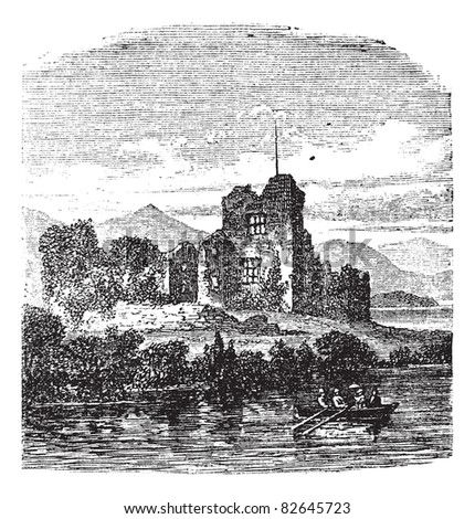 Ruins of Castle Ross, Killarney, Ireland vintage engraving. Old engraved illustration of medieval Ross castle Killarney, Ireland, 1800s. Trousset encyclopedia (1886 - 1891).