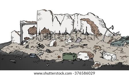 ruins street vector illustration - stock vector