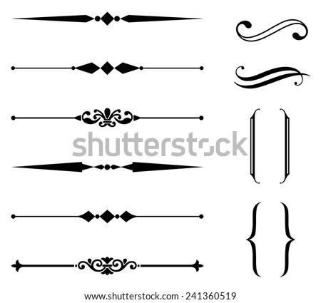 Rule Line and Ornament Set - Set of rule line and ornament design elements.  Each element is grouped separately for easy editing - stock vector