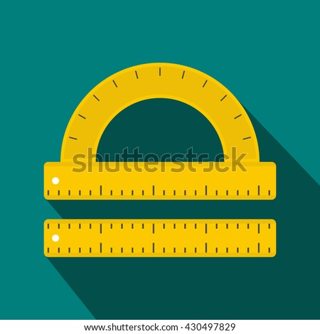 Ruler and protractor icon - stock vector