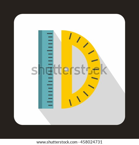 Ruler and protractor icon in flat style on a white background - stock vector