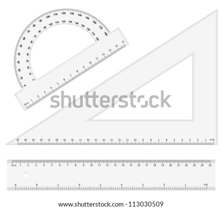 Ruler instruments on a white background. Vector illustration. - stock vector