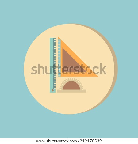 Ruler, protractor, triangle. Symbol of geometry and mathematics. Icon Training and Research - stock vector