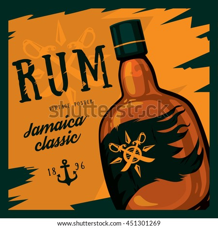 Rum or rhum glass bottle with swords on compass and anchor retro or vintage, old looking poster. Jamaica classic alcohol beverage. Can be used for bars or restaurant advertising theme - stock vector