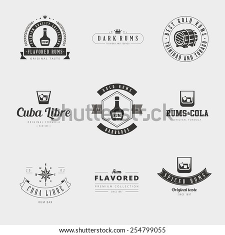 Rum Retro Vintage Labels Hipster Logo design vector typography lettering templates.  Old style elements, logos, logotypes, label, badges, stamps and symbols for bar pub - stock vector