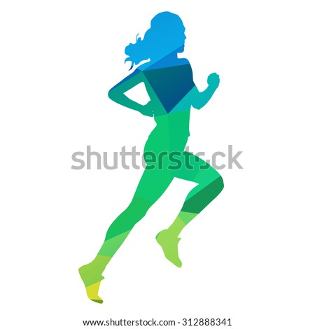 Run. Abstract geometrical running woman - stock vector