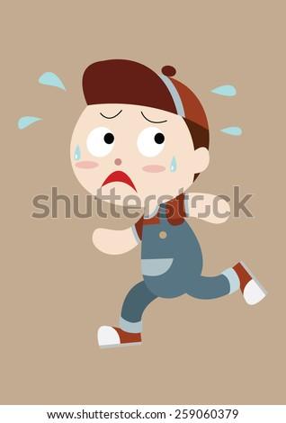 Kids running away clipart